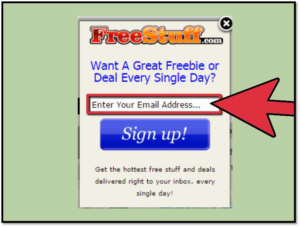 Arrow pointing to Enter your email address for Free Stuff. com SPAM screenshot